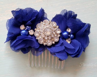 Royal Blue Flower Wedding Hair Comb, Blue Flower Comb, Wedding Comb, Bridesmaid Wedding Hair, Royal Blue Flower, Hair Clip