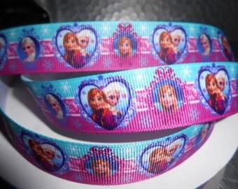 FROZEN ELSA and ANNA Heart Grosgrain 7l8 inch Ribbon 5 yds
