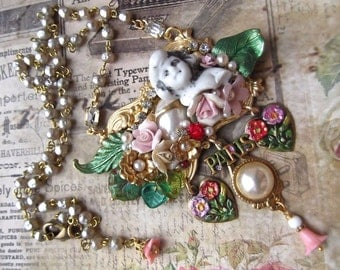 Antique Charlotte, Flowers, Leaves, Faux Pearls, Vintage Rose Cabochon, Crystal, Vintage Rosary Chain