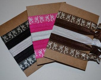 Choose a Set of Deer Head Hair Ties Pink Black Brown Deer with Bow