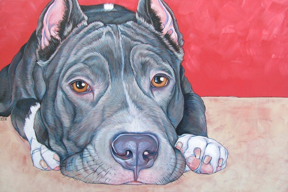 "30"" x 24"" Custom Pet Portrait Painting in Acrylic Paint on Canvas of One Dog, Cat, or Other Animal. 3/4"" Deep canvas, painted sides ooak art"