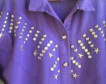 80s PURPLE Denim Dolman Sleeve Shirt with STAR Studs and RHINESTONES Medium