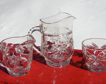 50s BREAKFAST Kitchen Pressed Glass Set Juice PITCHER and Cream & Open Sugar Bowl STAR Pattern