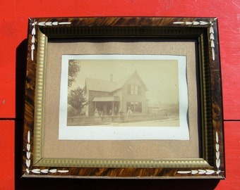 1800s Arts and Crafts Frame for REPURPOSE Wood and Gesso Vintage Photo of House