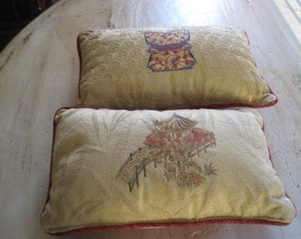 Two brocade pillows with Japanese motif