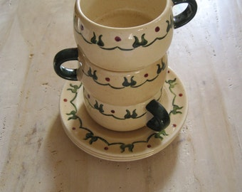 Metlox ceramic Poppy Trail cups and saucers