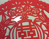 Tranditional Chinese Paper Cut art - Double happiness with double fish