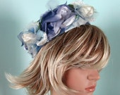 Vintage 1950s 1960s Floral Hat 50s 60s Blue Silk Flower Pillbox Hat