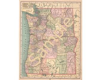 Printable Map of Washington, Washington County Map, Oregon County Map, Oregon Map Instant Digital Download 1900s Color Map, Cartography
