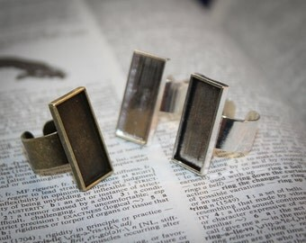 6 Ring Rectangle bases - DIY Jewelry making 10 mm x 25 mm ring base antique Bronze, antique or silver Adjustable - findings Unique
