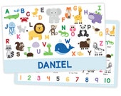 Personalized Animal Alphabet Placemat for Boy - Personalized Kids Placemat - Childrens Placemat - Laminated - Educational Placemat