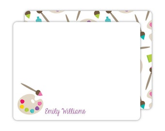 Art Party Flat Note Cards - Personalized Kids Stationery - Children Stationery - Art Party Thank You Cards