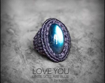 Deep Blue Labradorite Ring Macrame