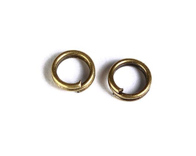 5mm Petite antique brass double loop jumpring - round jumpring - double loop jump ring (1501) - Flat rate shipping