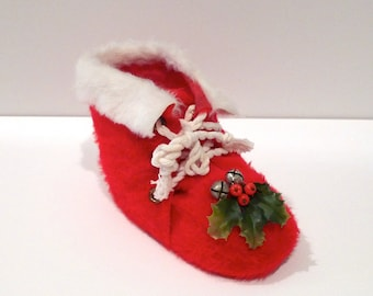 Red Santa Boot with Holly Accent Vintage red and Whtie Fake Fur Santa Claus 60s Faux Fur Boot St Nick Furry Christmas Display Holiday Decor