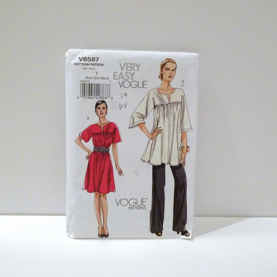 Yolked Smock dress and Loose Tunic top Sewing Pattern Boho Hippie Peasant Style Very Easy FF uncut Vogue V8587 Pull On Pants Free US Ship