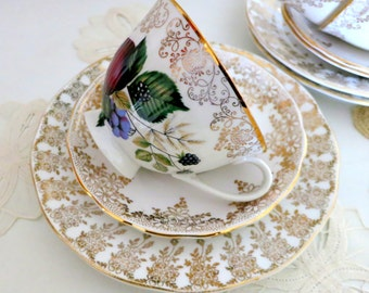 Fanciful Fruit & Gold Chintz Tea Trio ~ A Mismatched Marriage of Vintage English China