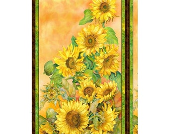 Sunflower, Slice of Summer by Wilmington Prints, Flower Fabric, Summer Fabric, 1 Panel, 10219