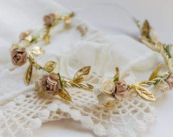 Tan & Cream Floral Crown - Floral Halo Floral Boho Headband Newborn Photo Prop Shabby Chic
