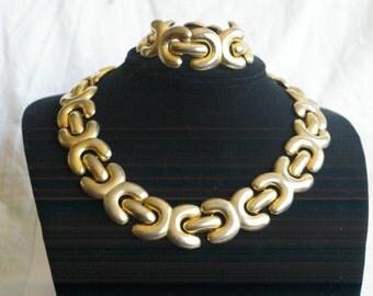 Goldtone Demi Parure Necklace and Bracelet - 1980s