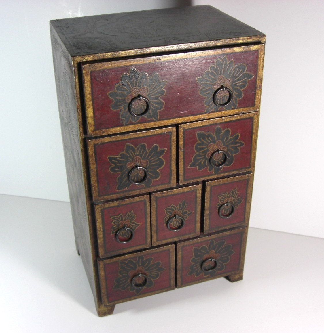 wooden handpainted table top jewelry chest box by