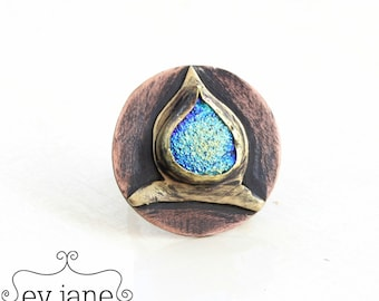 Tribal Green Blue Rainbow Druzy Statement Ring Brass Hand Cut Black Oxidized Boho Hippie Ethnic Adjustable Open