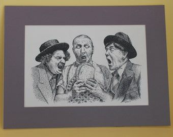 Celebrity Wall Art Three Stooges Portrait: Hand-drawn Pen & Ink Drawing