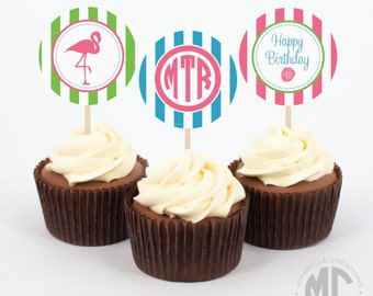 Lilly Inspired Flamingo Party - Digital Printable Cupcake Toppers or Party Circles -  Mirabelle Creations