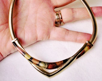 Vintage Enamel Bronze Metallic Enamel Choker Necklace - 1980's Chic