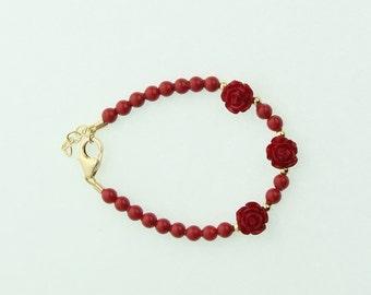 Red Flower Coral Red Bracelet (B135-RR)