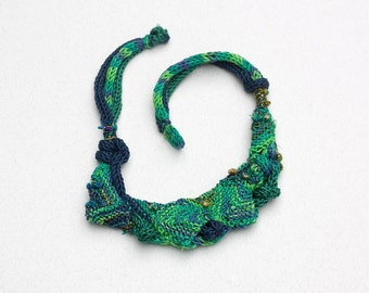 Blue green bib necklace, knitted statement jewelry, OOAK fiber necklace