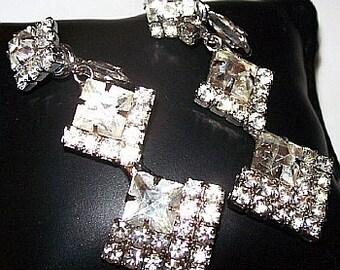 Wedding Earrings Princess Rhinestones Dangle Style Silver Metal Clip Backs 2.5 in Vintage