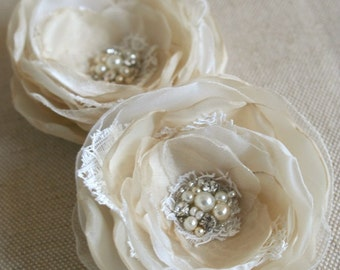 Bridal Hair Flowers, Wedding Hair Accessories, Bridal Hairpiece, Vintage Wedding Headpiece, Rose Flower Clips, Champagne, Ivory, Sand, Lace