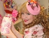 Pretty in candy pink orange blue floral feather felt tilt hat net 40s 50s style wedding races