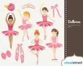 buy 2 get 1 free Cute Ballerina Girls clipart for personal and commercial use ( ballet clip art ) - vector ballerina graphic clip art