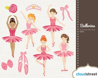 20% OFF Cute Ballerina Girls clipart for personal and commercial use ( ballet clip art ) - vector ballerina graphic clip art