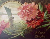 Reserved: Beautiful Edwardian Era Postcard with Carnations and Sailboat