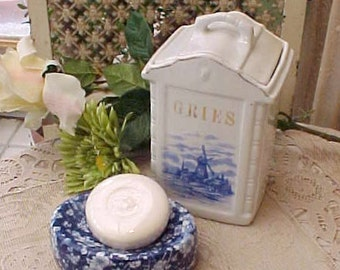 Lovely European Porcelain Kitchen Cannister Type Jar with Dutch Windmill Scene