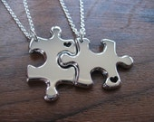 Two Thick Silver Puzzle Piece Pendant Necklace with Handcut Heart 2