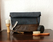 Toiletry bag, roll-up men bag,shaving bag, groomsmens gift, dopp kit,Faux suede and teal cashmere, herringbone and plaid. Mens. Husband gift