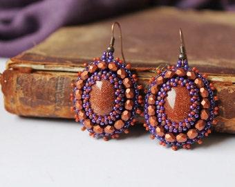 Brown Copper Earrings Goldstone Earrings Beadwork Earrings Bead Embroidery Jewelry Cabochon Earrings Gemstone Earrings Ethnic Boho