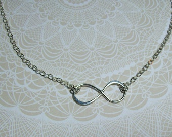 Sterling Silver Infinity Necklace. Sterling Silver Chain Necklace. Simple Necklace. Minimalist.