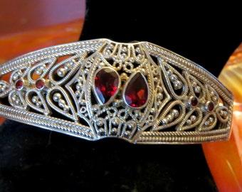 Stunning Vintage Sterling Silver Ornate Filigree Victorian Style Tear Drop Red Garnet Vintage Cuff Bracelet