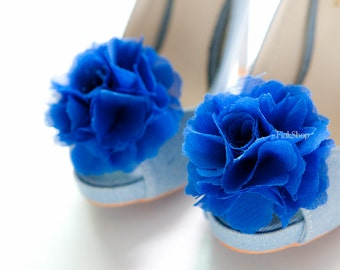 Royal Blue-Set of 2,Chiffon flower shoe clips for bridal wedding-Choose your Color