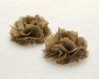 Moss green-Set of 2,Chiffon flower shoe clips for bridal wedding-Choose your Color