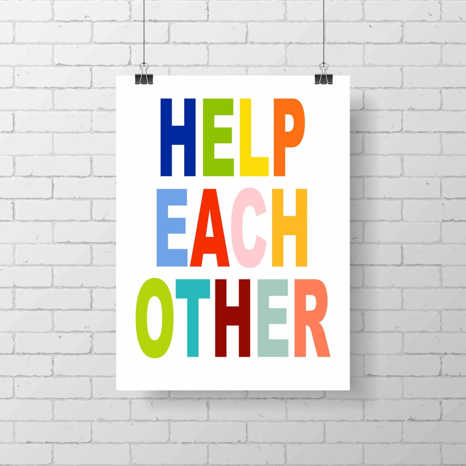Helping Each Other: Printable Modern Kid Print Help Each Other Wall Art