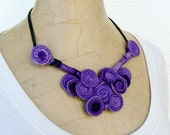 Choker purple violet lilac Wire wrapped Bib necklace