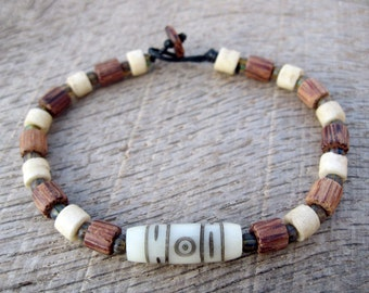 Mens surfer bracelet, bone, glass and wood beads, natural materials, strong cord with toggle and loop clasp, tribal style, Czech glass beads