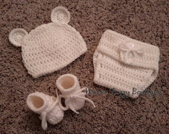 Baby Polar Bear Hat, Booties & Diaper Cover Set in White - Newborn Beanie Cap Shoes Halloween  Christmas Gift Winter Outfit
