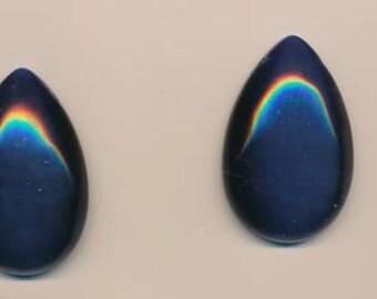 Beautiful fiber-optic pear-shaped pendants - midnight blue - 37 x 25 mm